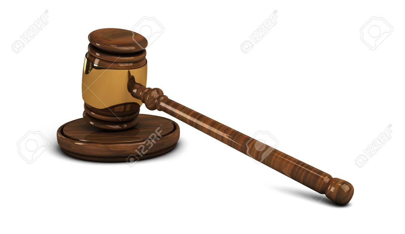 Wooden gavel with brass rim, legal set on white Stock Photo - 17988470
