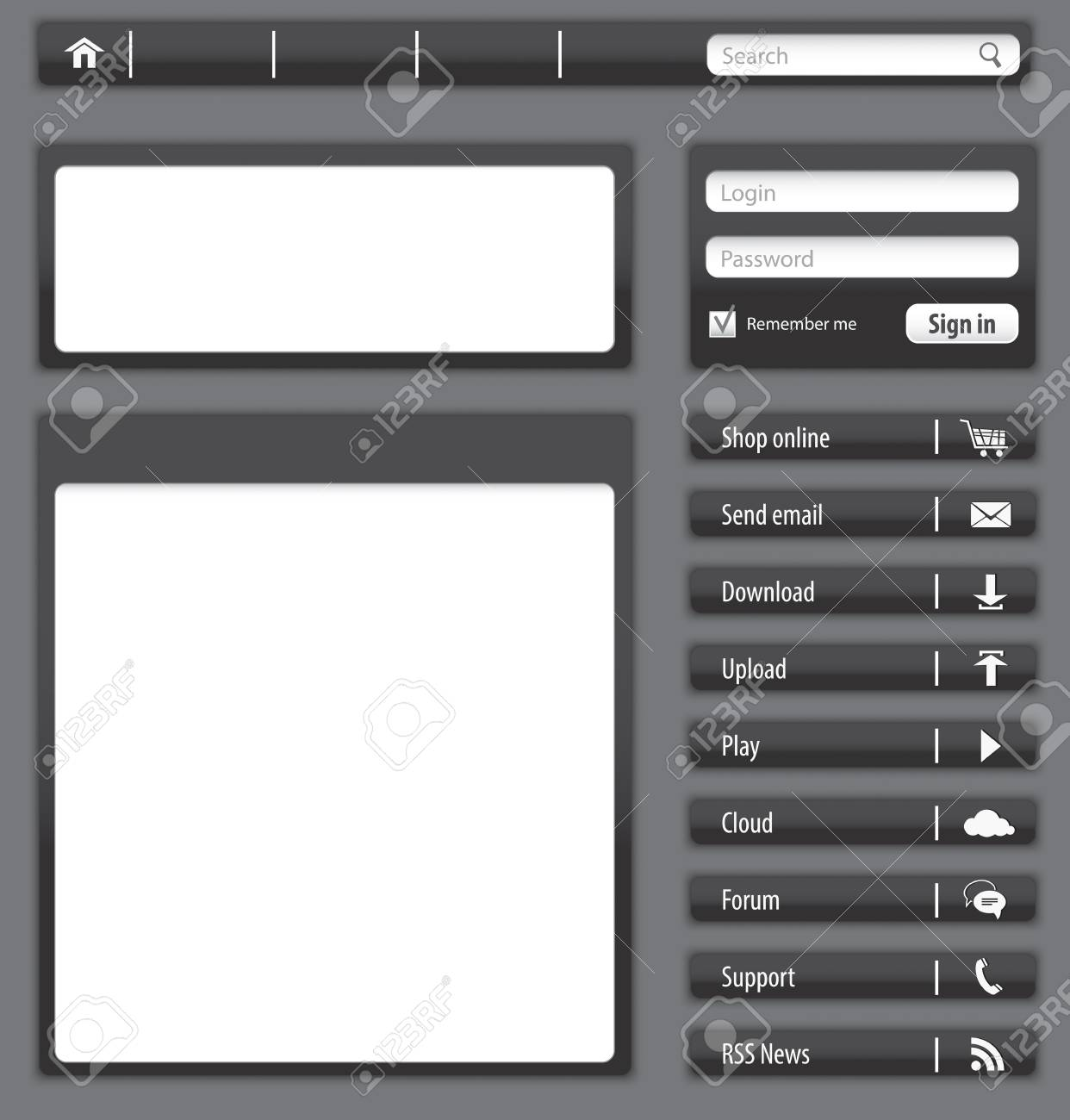 Website design dark gray elements and modules. Vector illustration Stock Vector - 18199565
