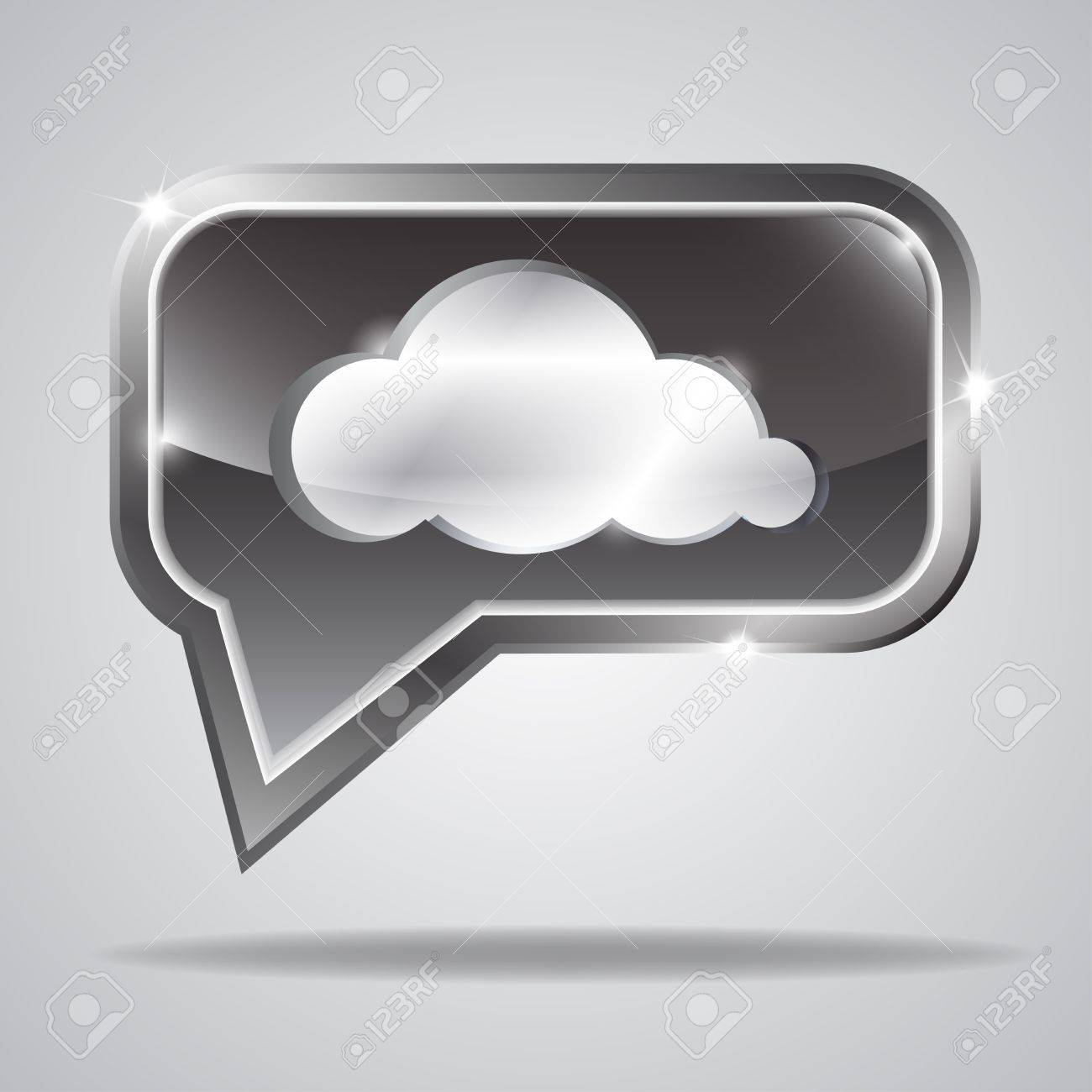 Metallic bubble with shiny cloud shape. Vector illustration Stock Vector - 18336628