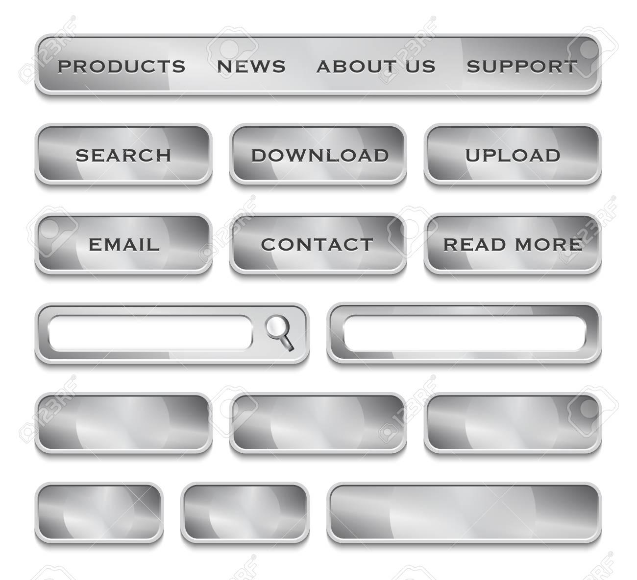 Metallic website design elements. Vector Illustration Stock Vector - 19276926