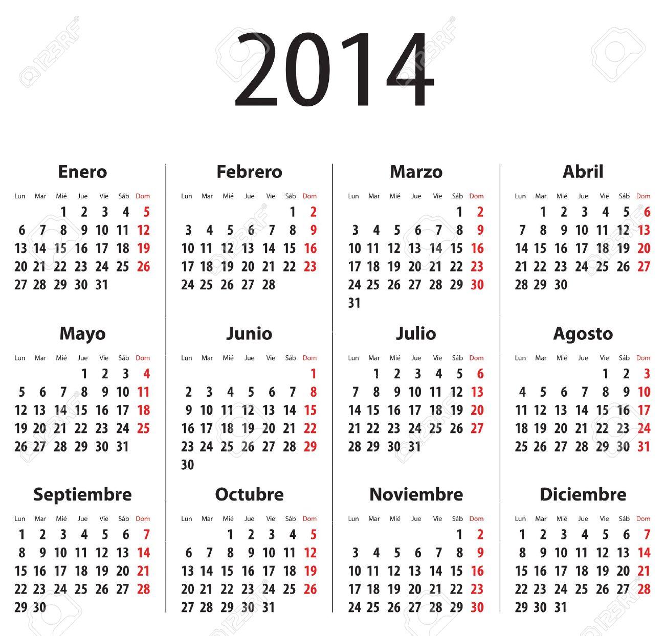 Calendario Spagnolo.Calendario Di Spagnolo Per Il 2014 Lunedi Primo Cifre In Grassetto Vector Illustration