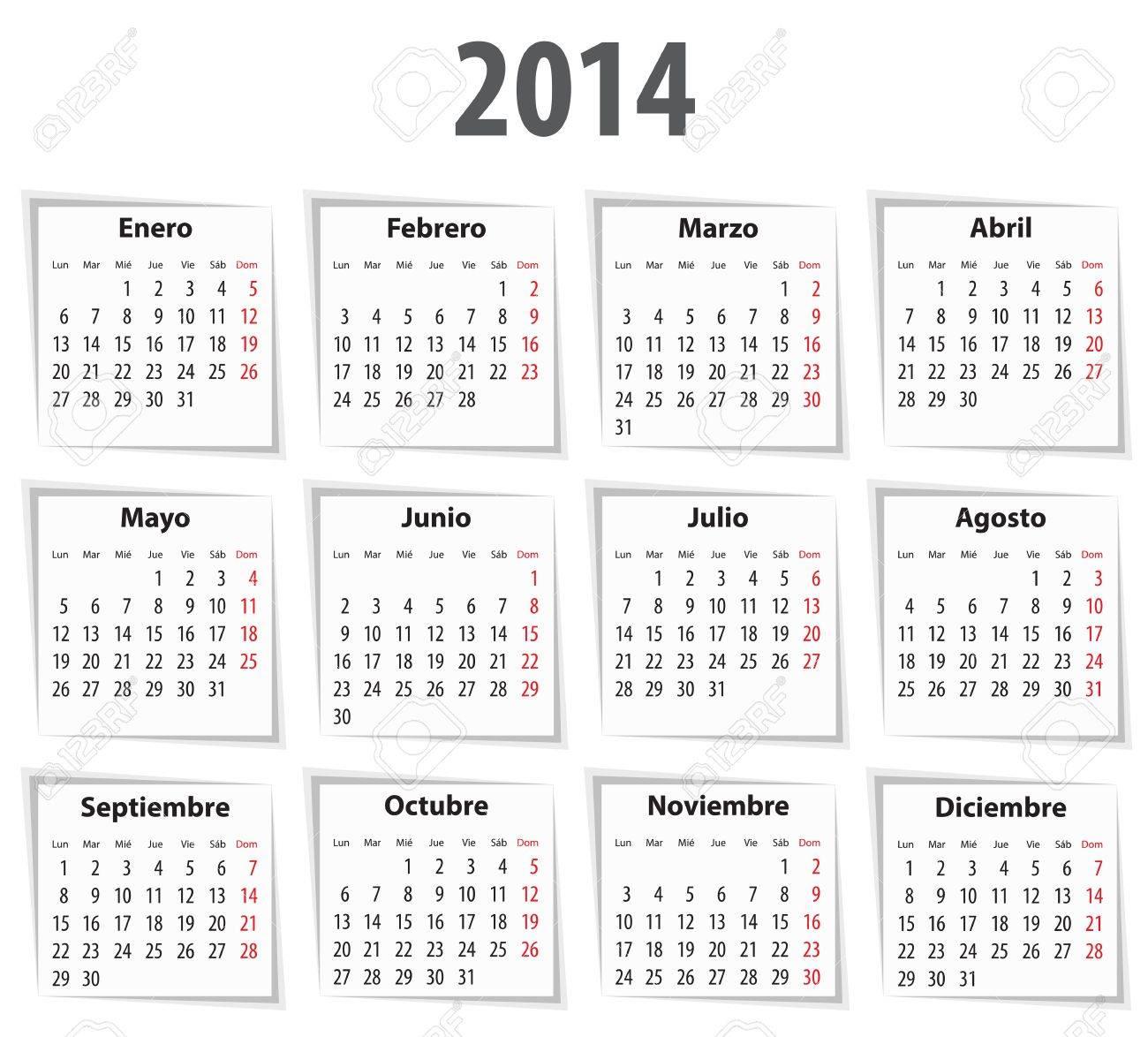 Calendario Spagnolo.Calendario Spagnolo Per Il 2014 Con Le Ombre Lunedi Primo Vector Illustration