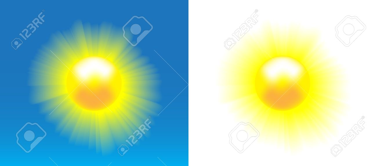 Shining sun with nice realistic rays over blue and white background. Stock Vector - 20215155