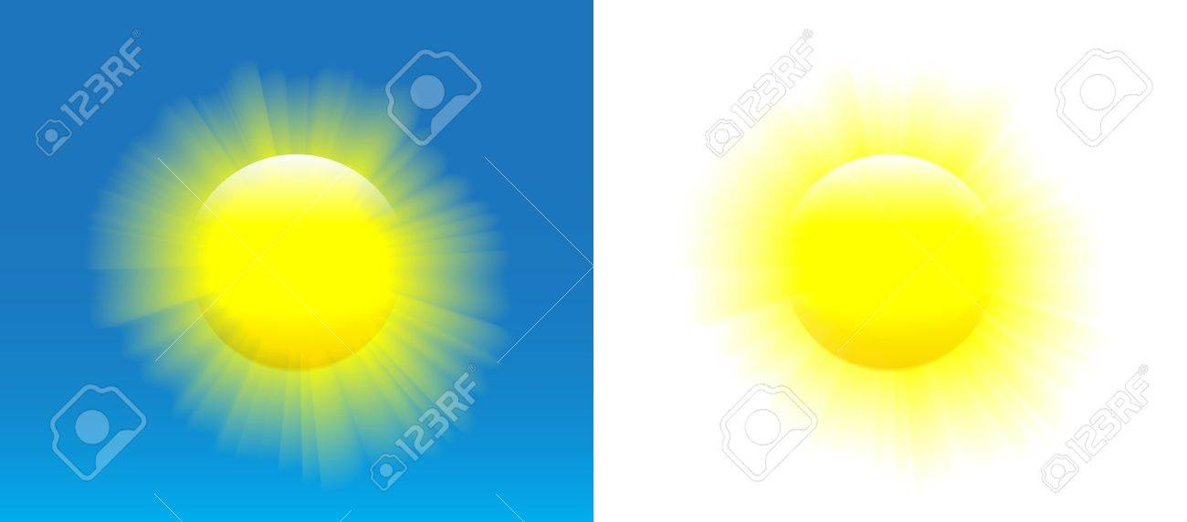Shining sun with nice realistic rays over blue and white background. Stock Vector - 20215154
