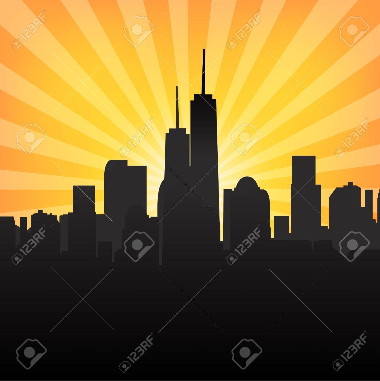 Cityscape on Sunburst Pattern Stock Vector - 21650019