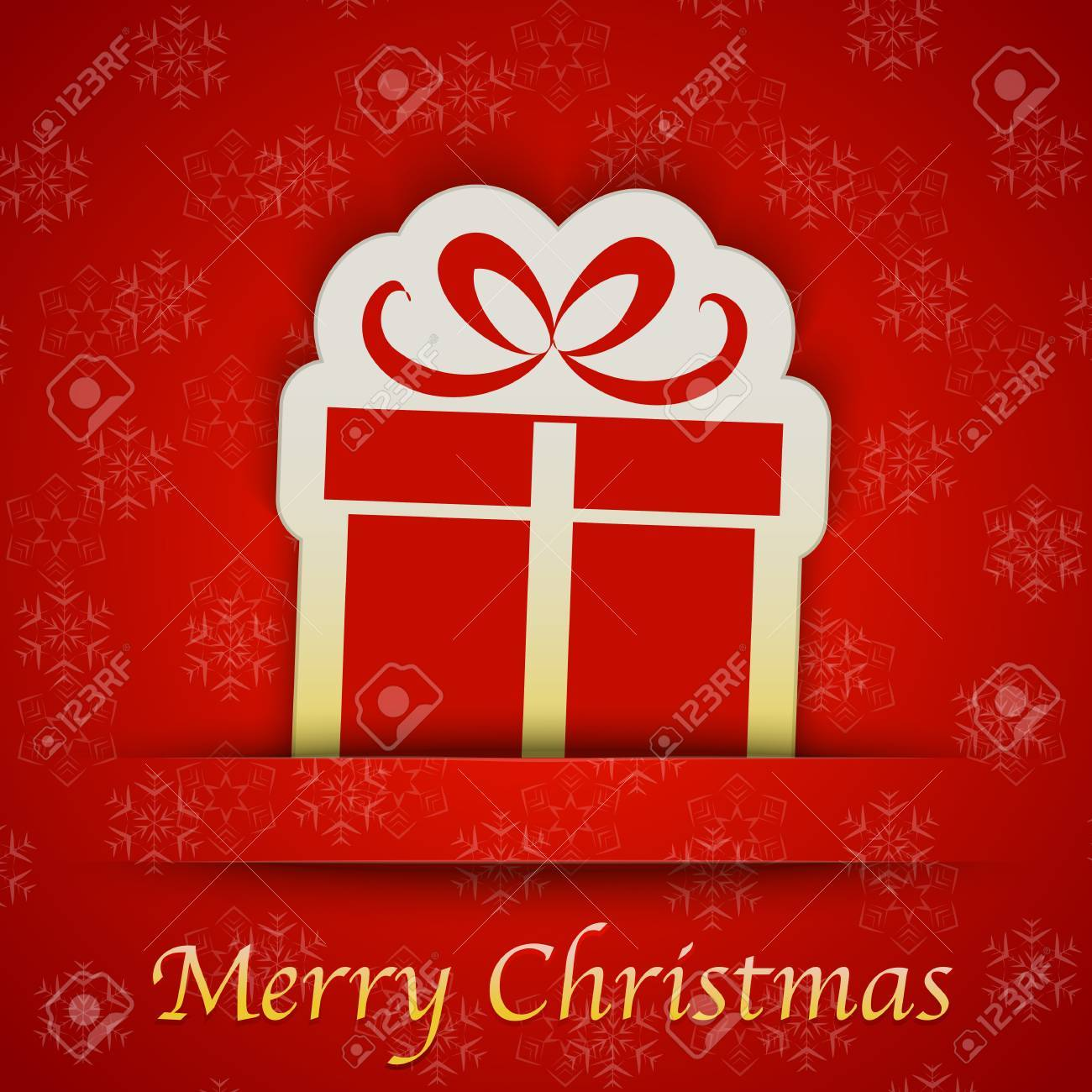 Merry Christmas Gift Card With A Simple Gift Sign Sticker Placed ...