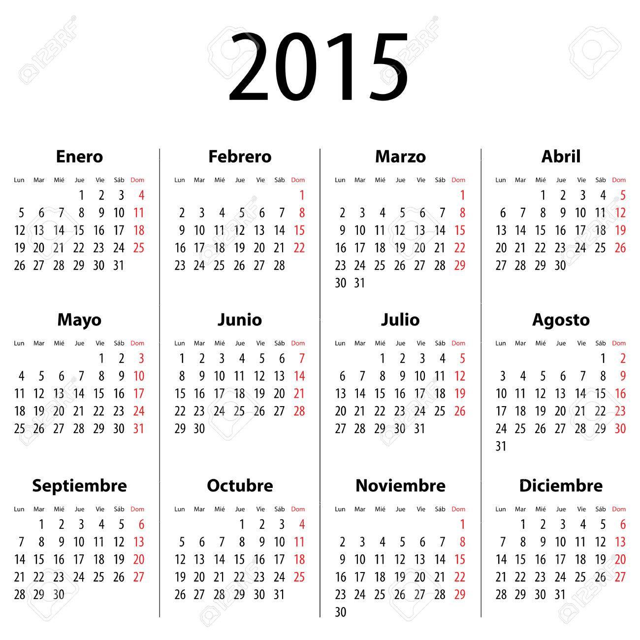 Calendario Spagnolo.Calendario Spagnolo Per Il 2015 Lunedi Prima Cifre In Grassetto Illustrazione Vettoriale