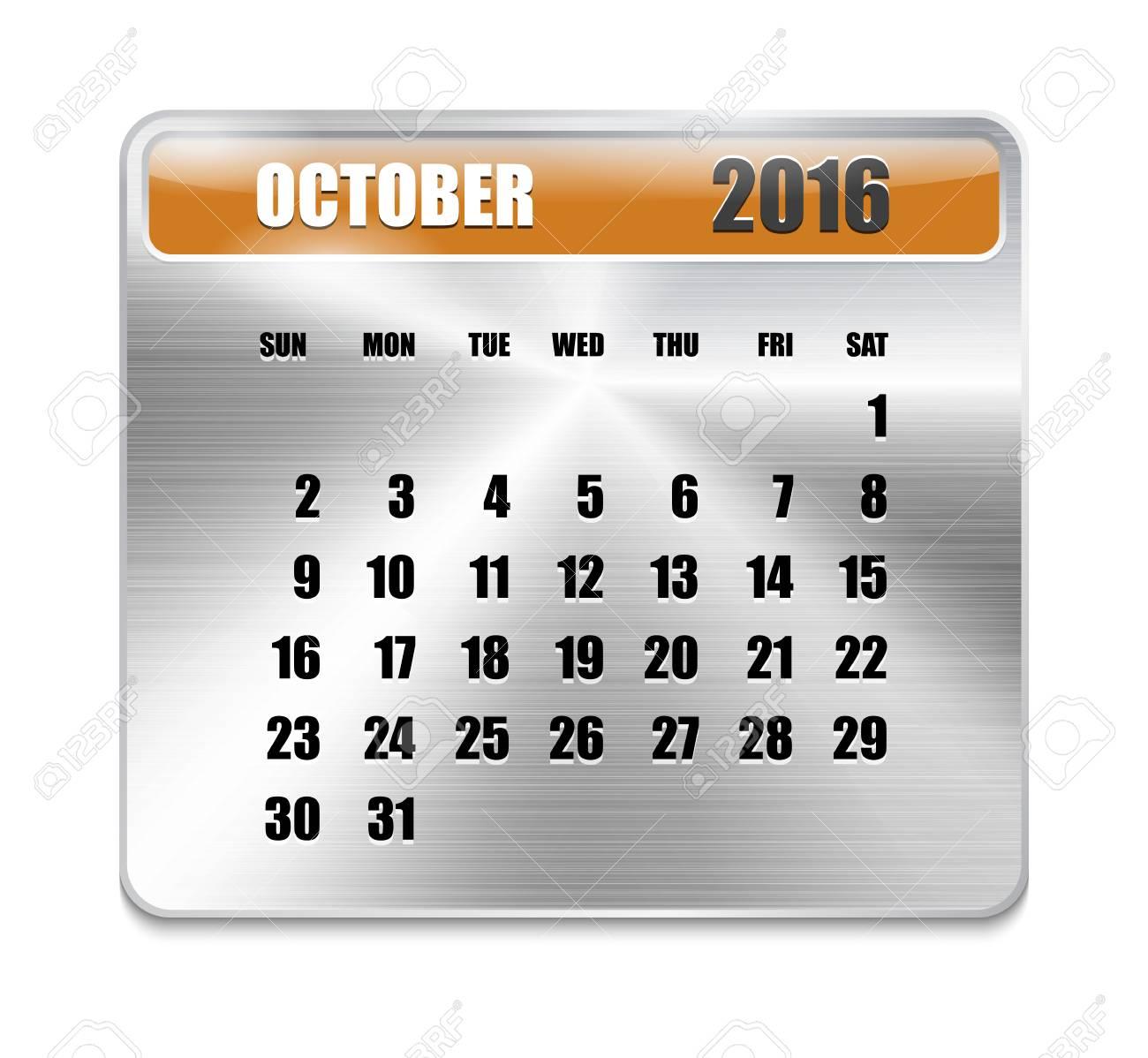 Calendario Per Sito Web.Calendario Mensile Per Ottobre 2016 Sul Piastra Metallica Vacanze Arancio Puo Essere Usato Per I Calendari Di Lavoro E Uffici Sito Web Design