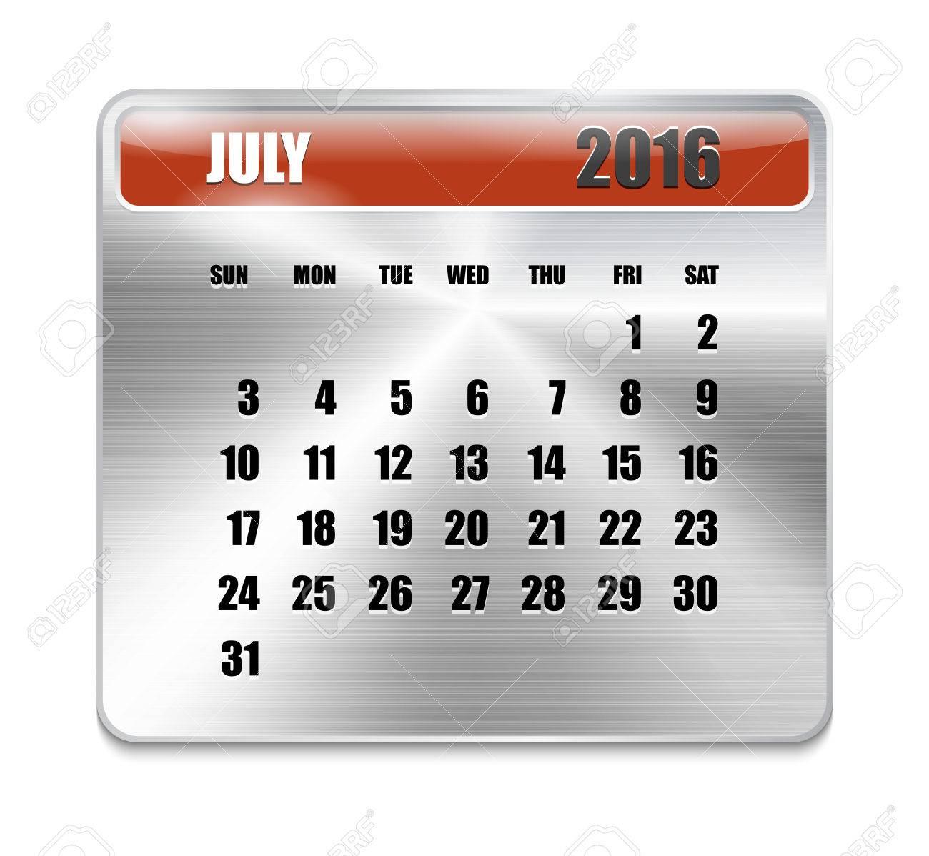 Calendario Per Sito Web.Calendario Mensile Per Luglio 2016 Sul Piastra Metallica Vacanze Arancio Puo Essere Usato Per I Calendari Di Lavoro E Uffici Sito Web Design