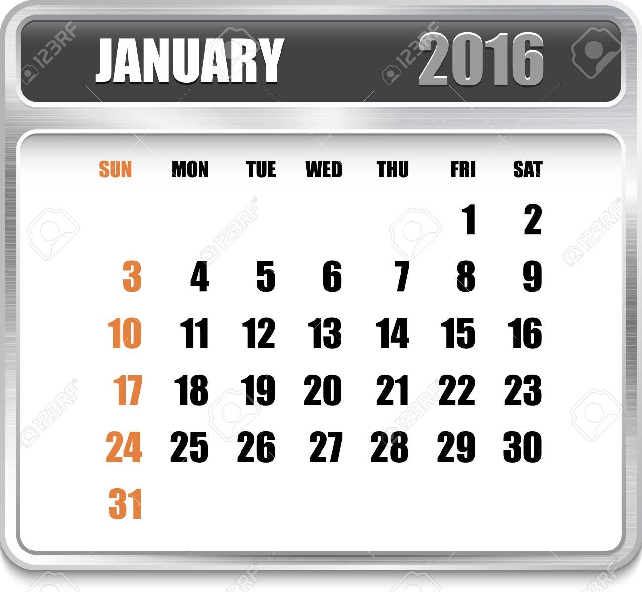Calendario Per Sito Web.Calendario Mensile Per Gennaio 2016 In Piastra Metallica Vacanze Arancio Puo Essere Usato Per I Calendari Di Lavoro E Uffici Sito Web Design