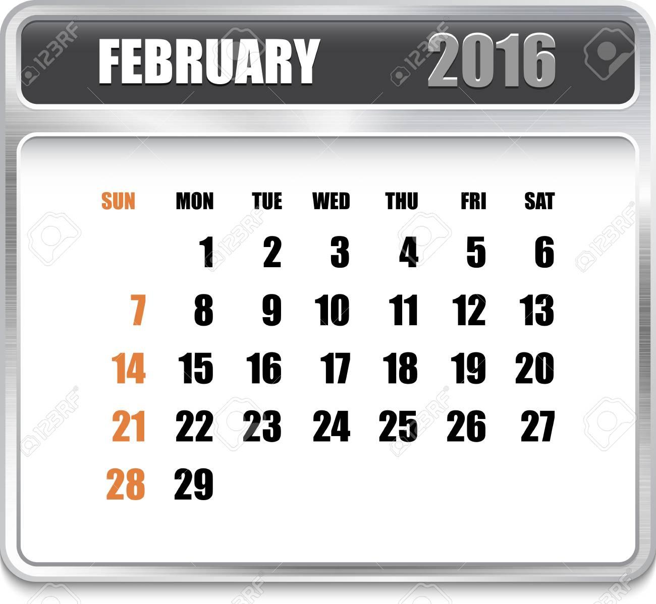 Calendario Per Sito Web.Calendario Mensile Per Febbraio 2016 Su Piastra Metallica Vacanze Arancione Puo Essere Utilizzato Per Calendari Aziendali E Di Ufficio Design Sito
