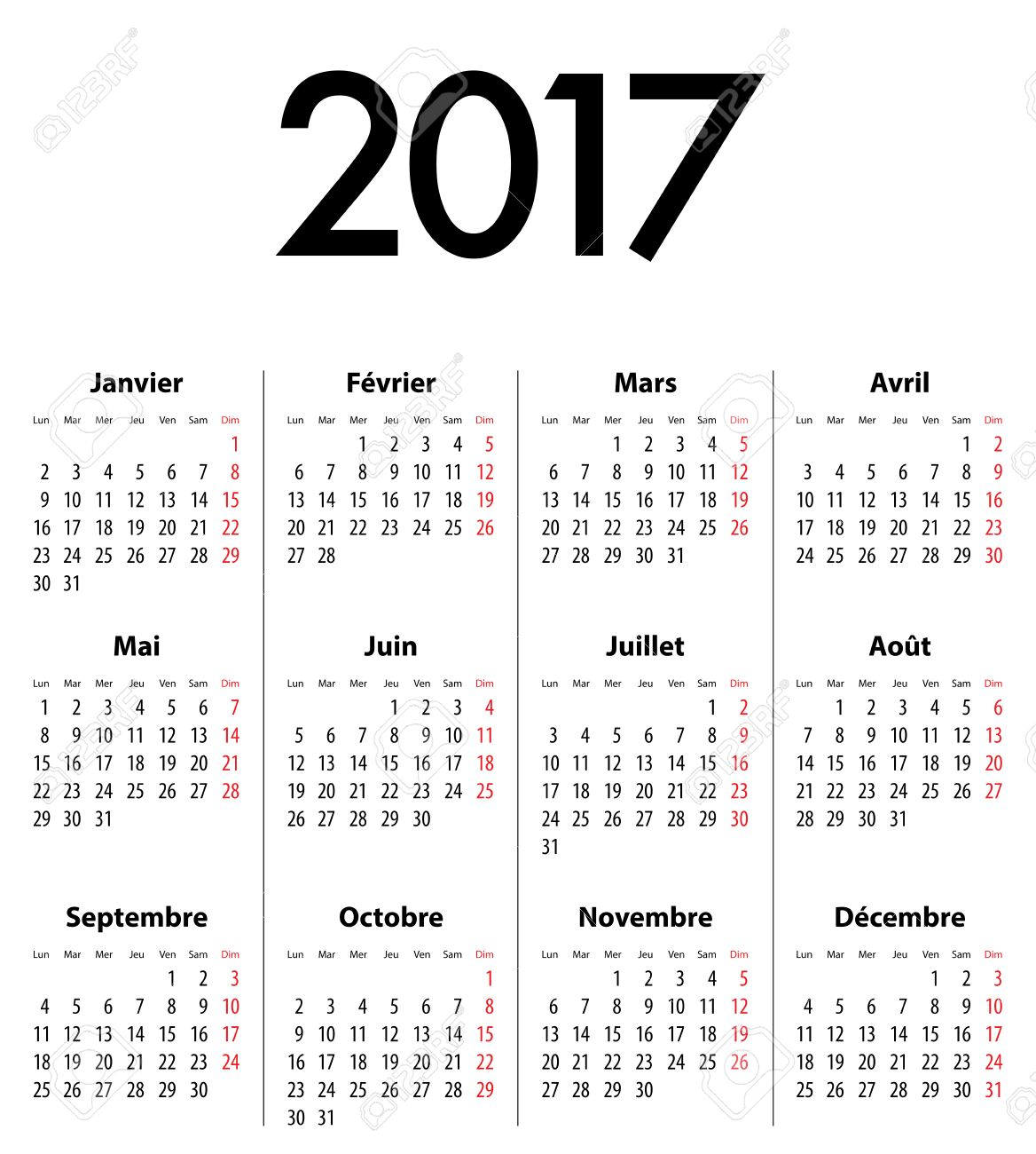 french calendar grid for 2017 year best for calendar print business web design