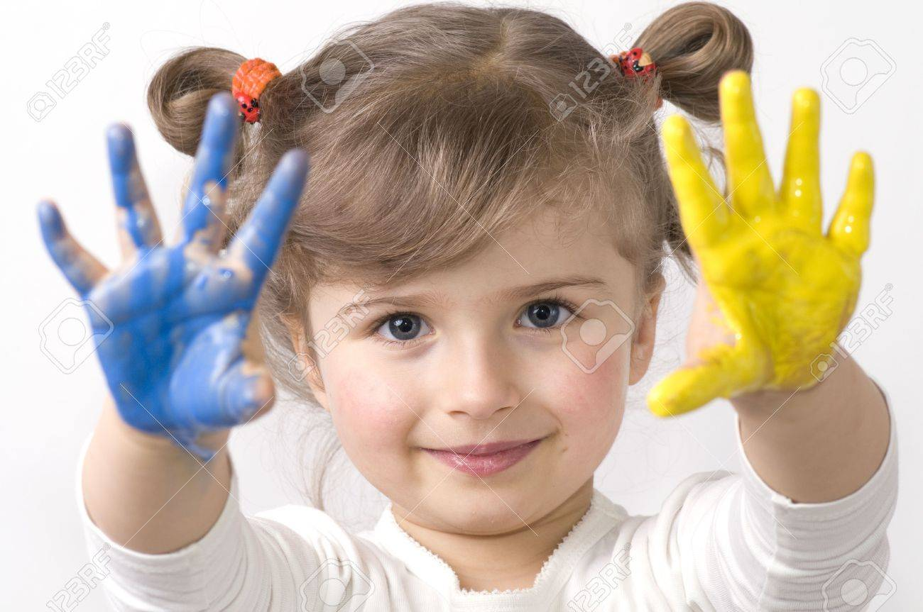 Cute girl playing with colors Stock Photo - 4210164