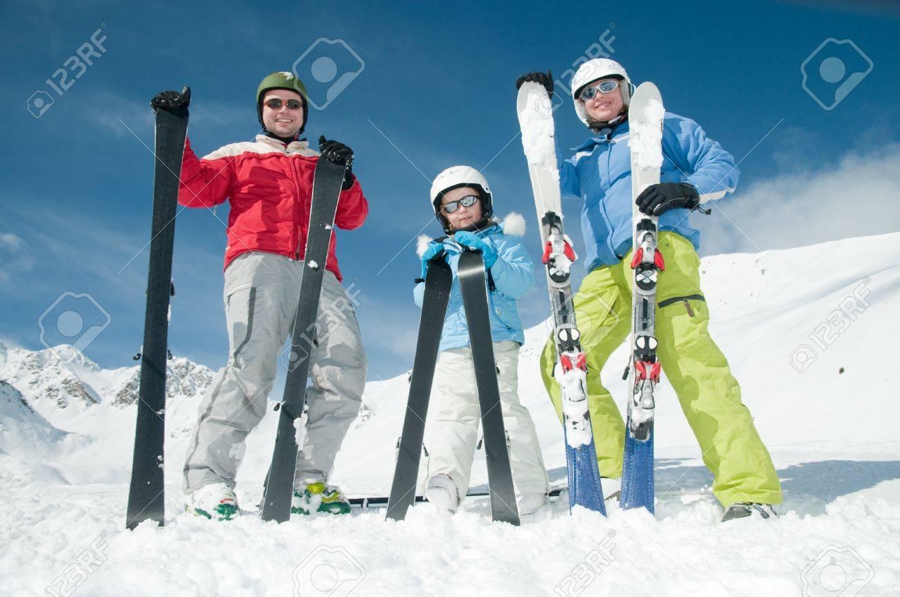 Happy family ski team Stock Photo - 8347054
