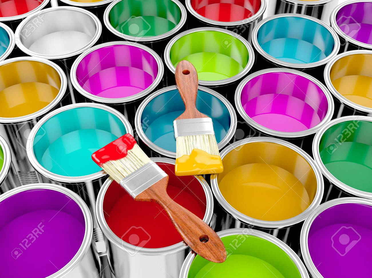 metal paint cans with colorful paint and paintbrush painting