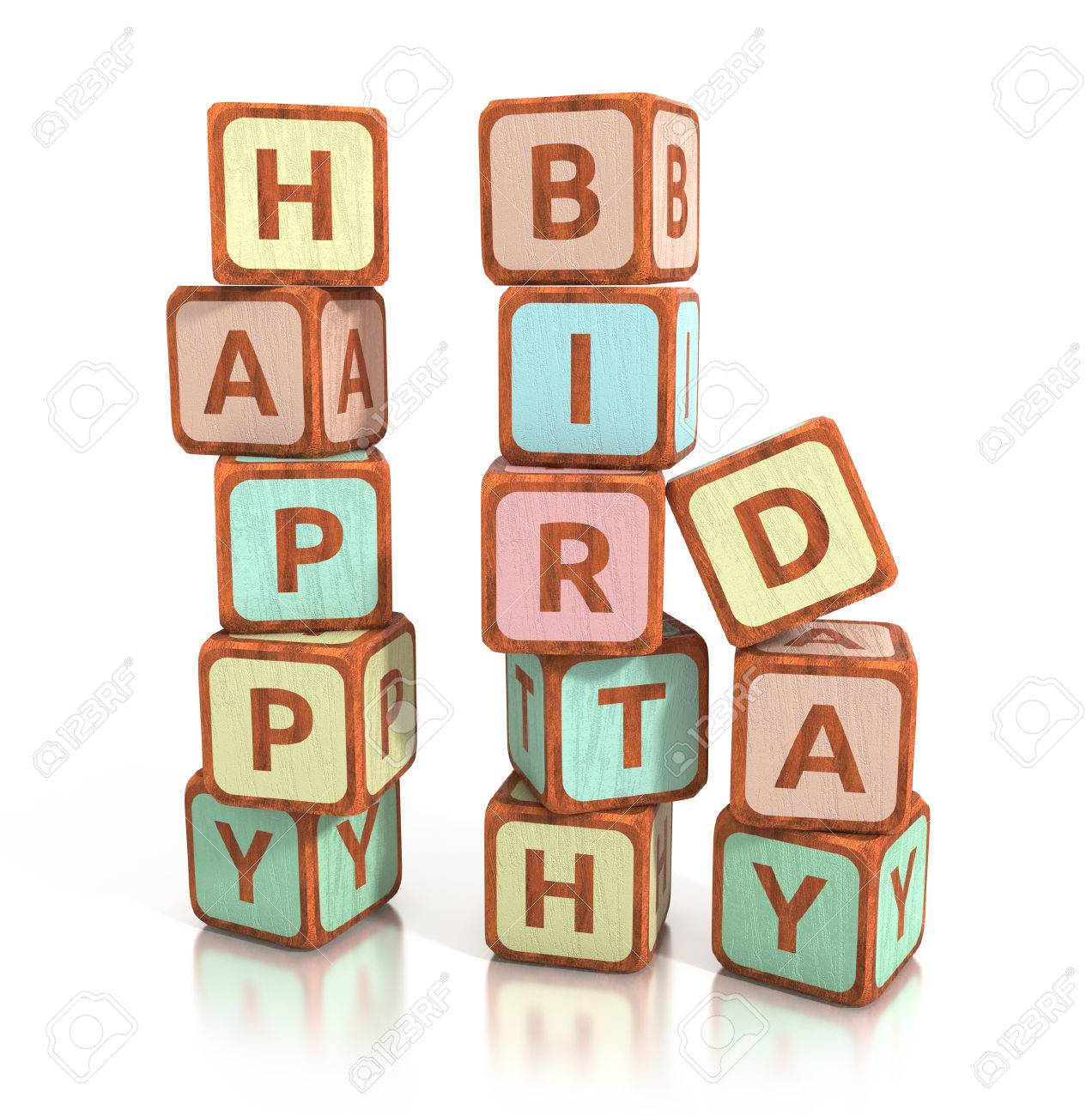 Wooden Blocks Spell Happy Birthday Isolated On White Background