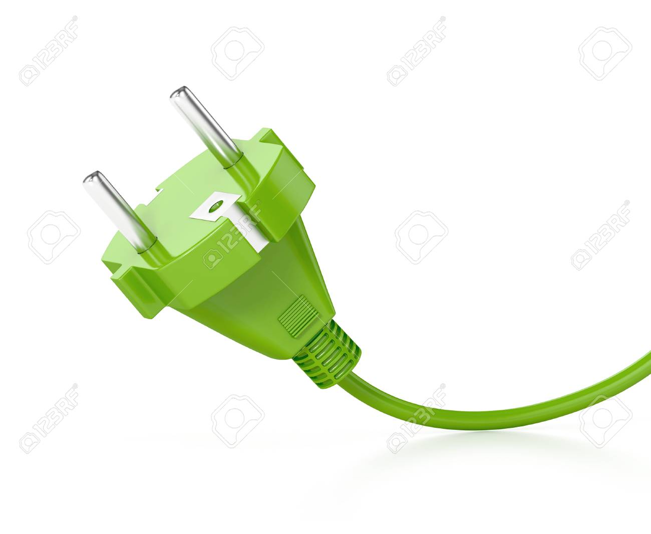 Grüner Elektrischer Stecker Mit Kabel Auf Weißem Hintergrund ...