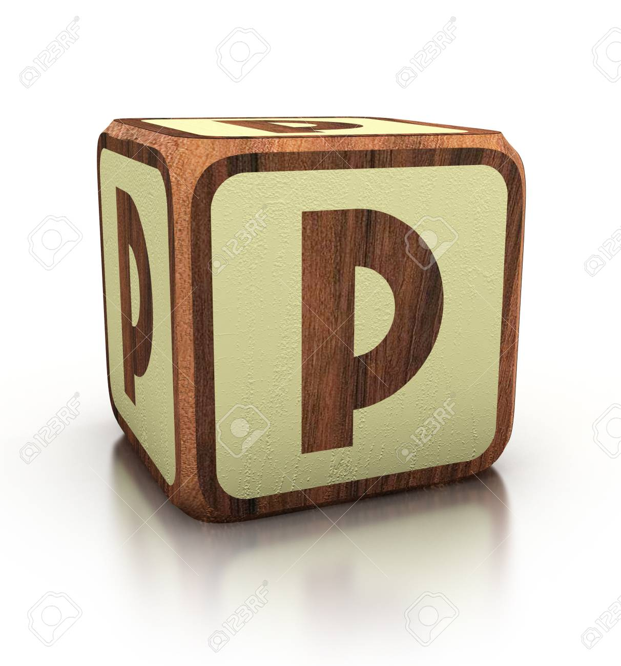 Letter P Wooden Blocks Font Isolated On White D Illustration