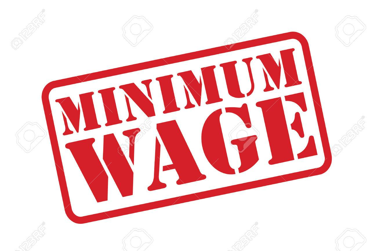 MINIMUM WAGE red Rubber Stamp over a white background. - 31460910