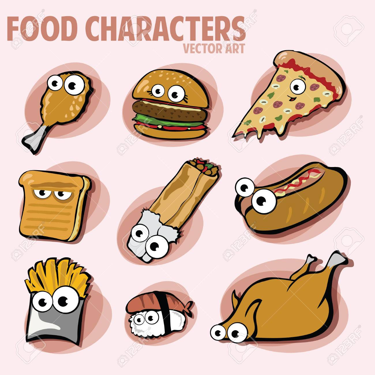 Funny Various Cartoon Fast Food Characters Royalty Free Cliparts ...
