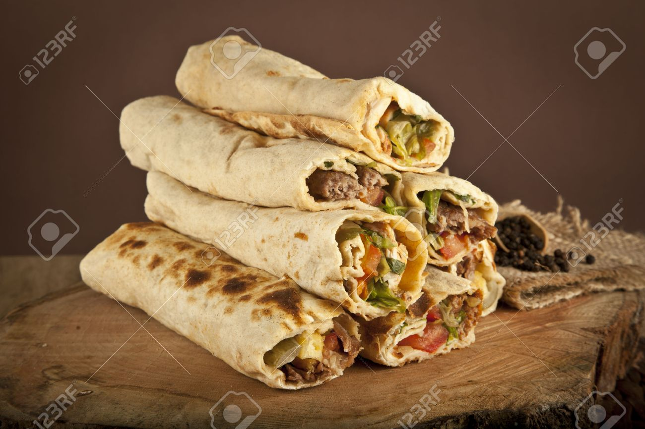 Turkish Shawarma Durum Traditional Sish Kebab Wrap Stock Photo Picture And Royalty Free Image Image 36977309