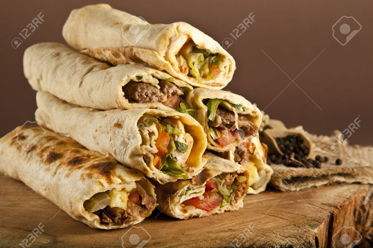 Turkish Shawarma Durum Traditional Sish Kebab Wrap Stock Photo Picture And Royalty Free Image Image 36977316