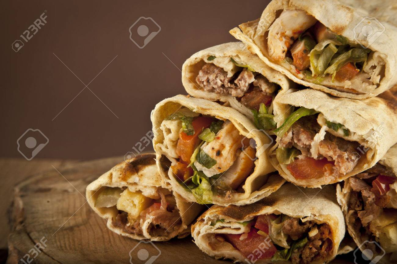 Turkish Shawarma Durum Traditional Sish Kebab Wrap Stock Photo Picture And Royalty Free Image Image 36977235