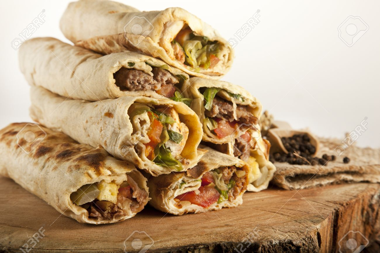 Turkish Shawarma Durum Traditional Sish Kebab Wrap Stock Photo Picture And Royalty Free Image Image 36977177