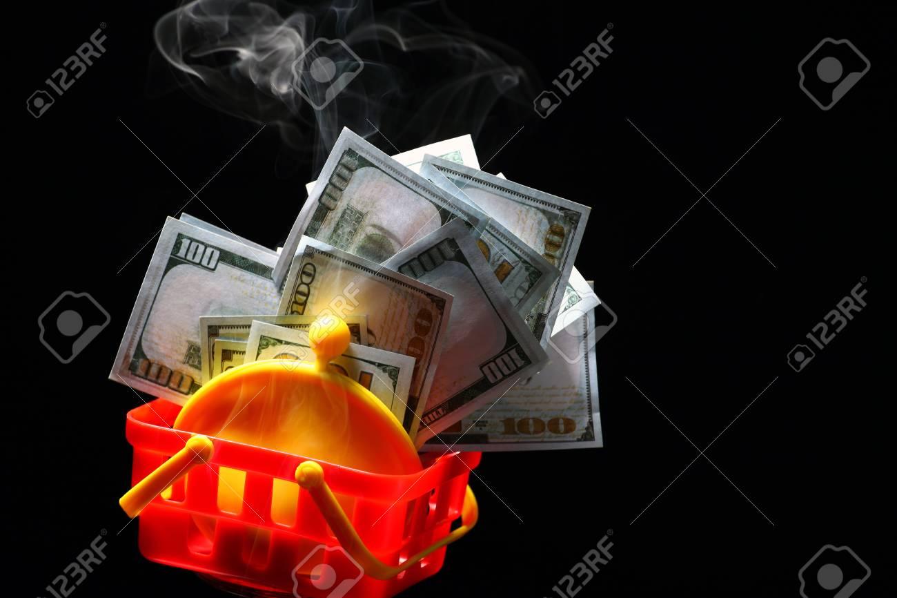 yellow purse money dollar plastic basket smoke nobody background