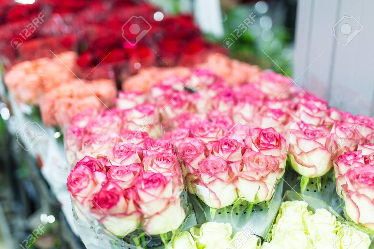 Bouquets Of Multiclored Roses. Fresh Flower Background. Florist ...