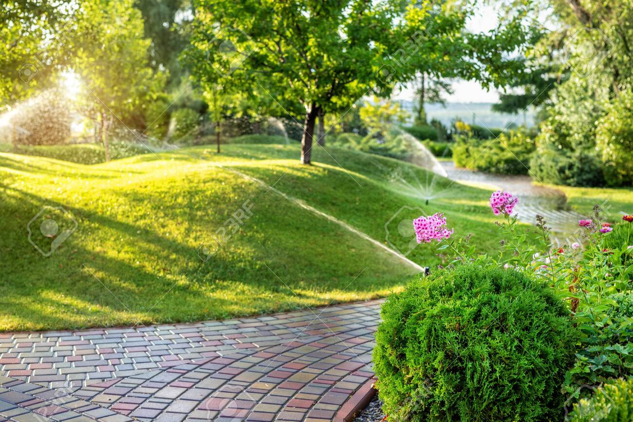 Automatic garden watering system with different sprinklers installed under turf. Landscape design with lawn hills and fruit garden irrigated with smart autonomous sprayers at sunset evening time. - 129207935