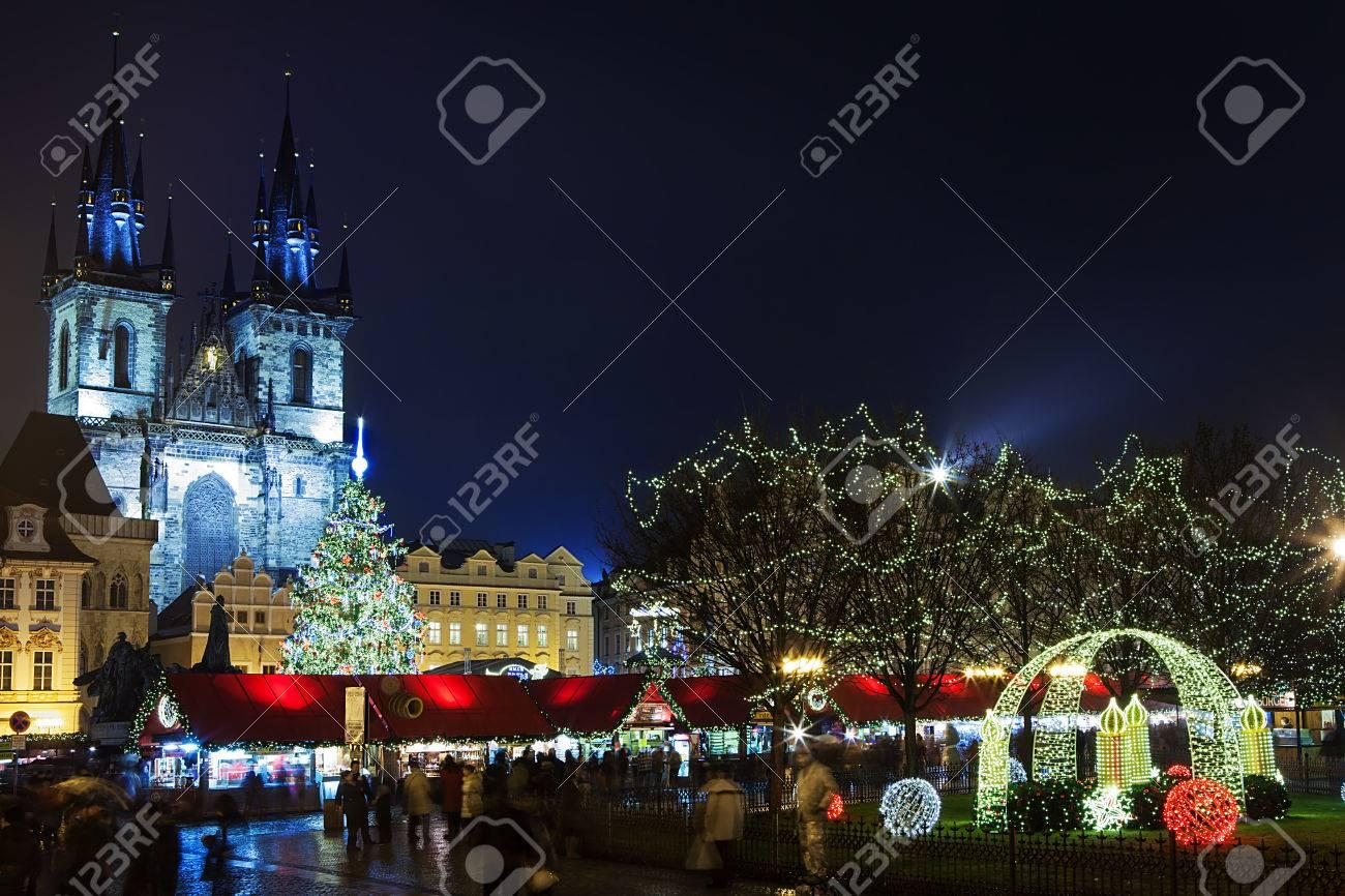 Prague Christmas Market.Prague Czech Republic Jan 05 2013 Prague Christmas Market On