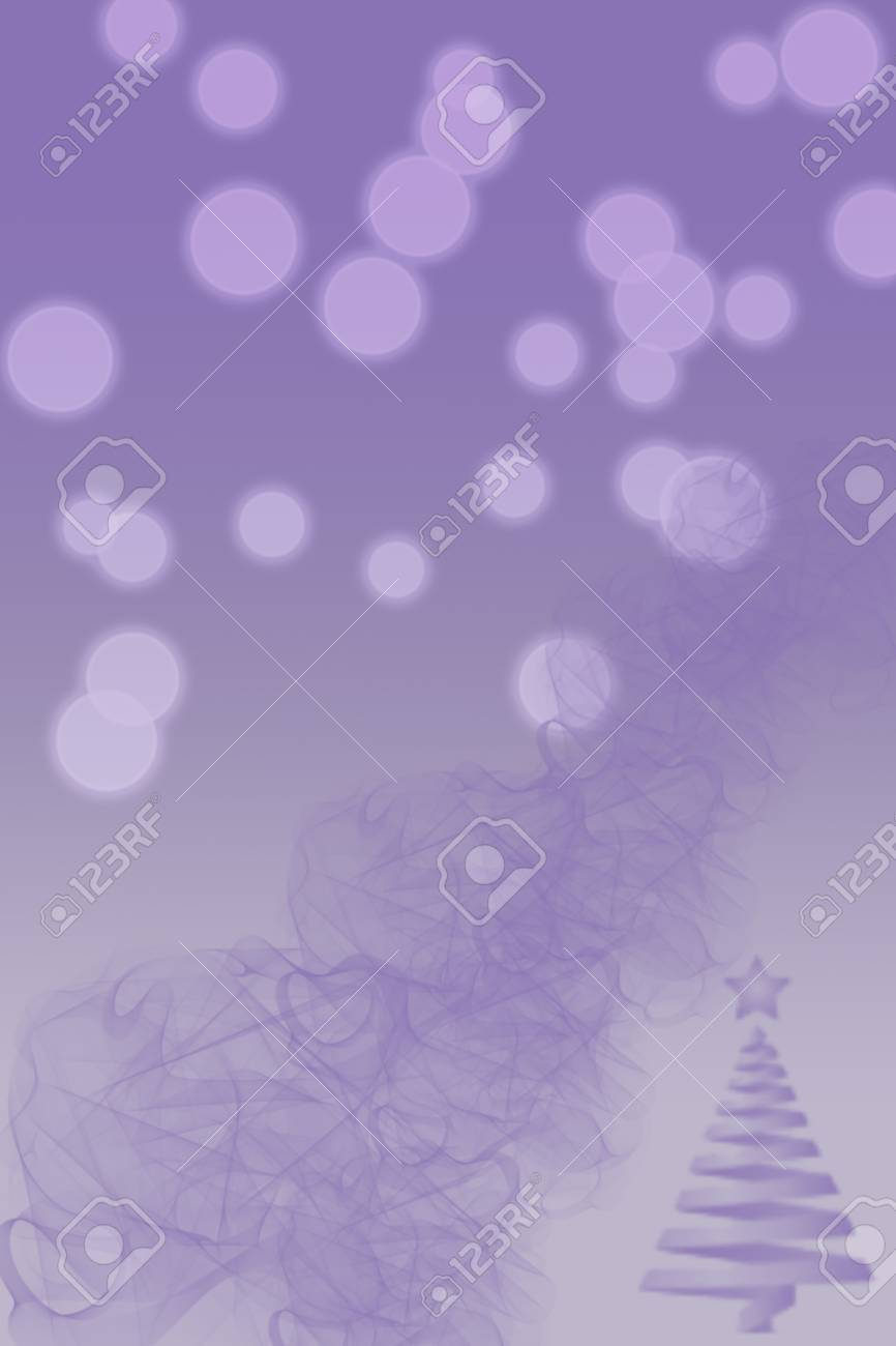 Picture Of Christmas Tree And Bokeh Lights On Blurred Lilac Background Vertical Digital Wintertime Festive