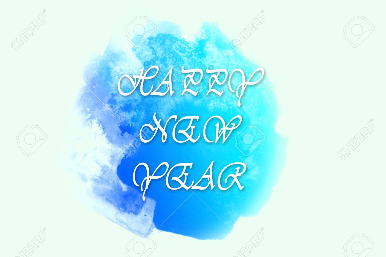 Picture Of Bright Blue Spot With Happy New Year Greetings Digital