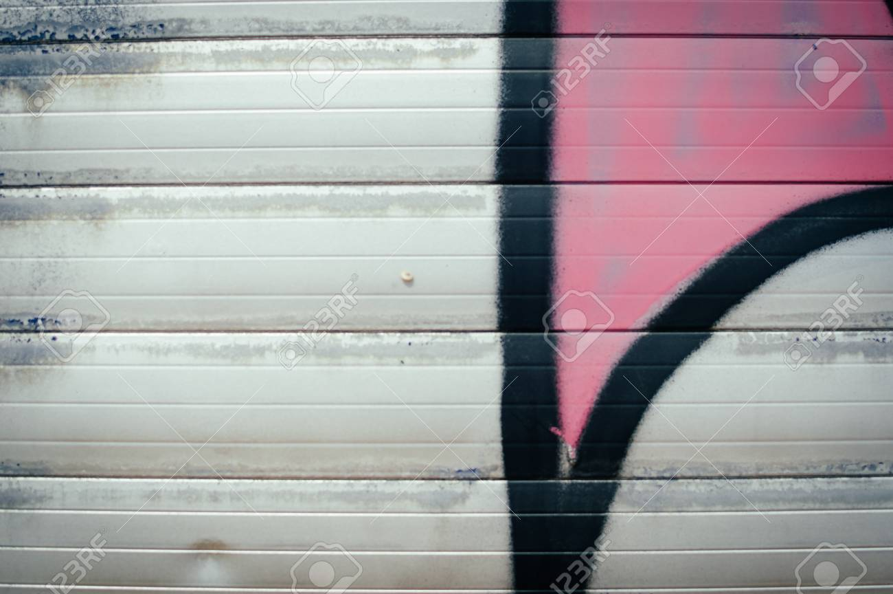 Closeup On Roller Shutter Garage Door Abstract Textured Background