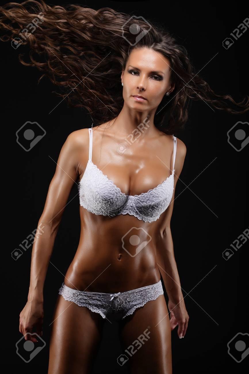 Perfekte Sexy Frauen In Der Weißen Unterwäsche Atelieraufnahme