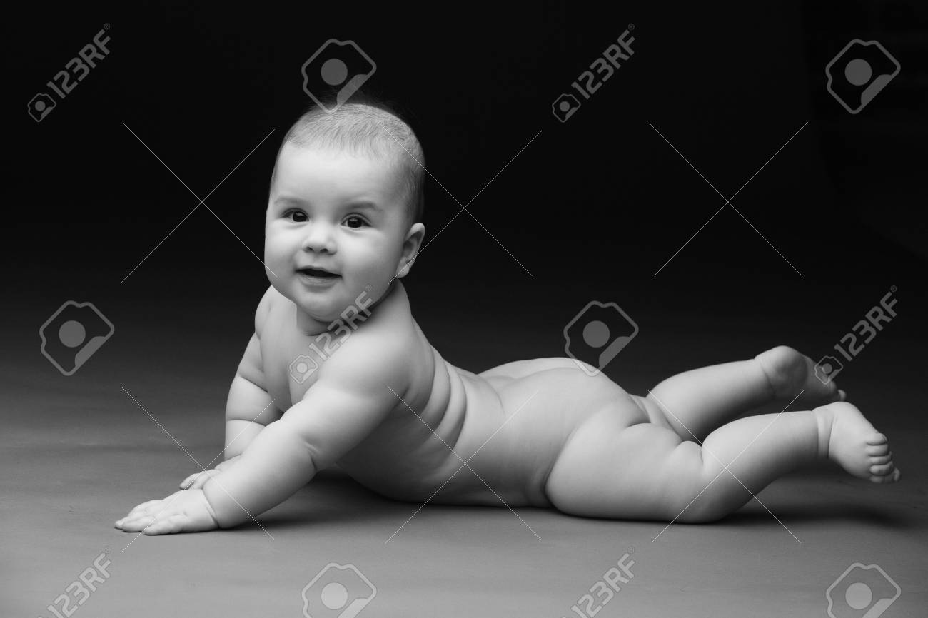 Beautiful Baby On A Black Background Black And White Photography Stock Photo Picture And Royalty Free Image Image 55801800