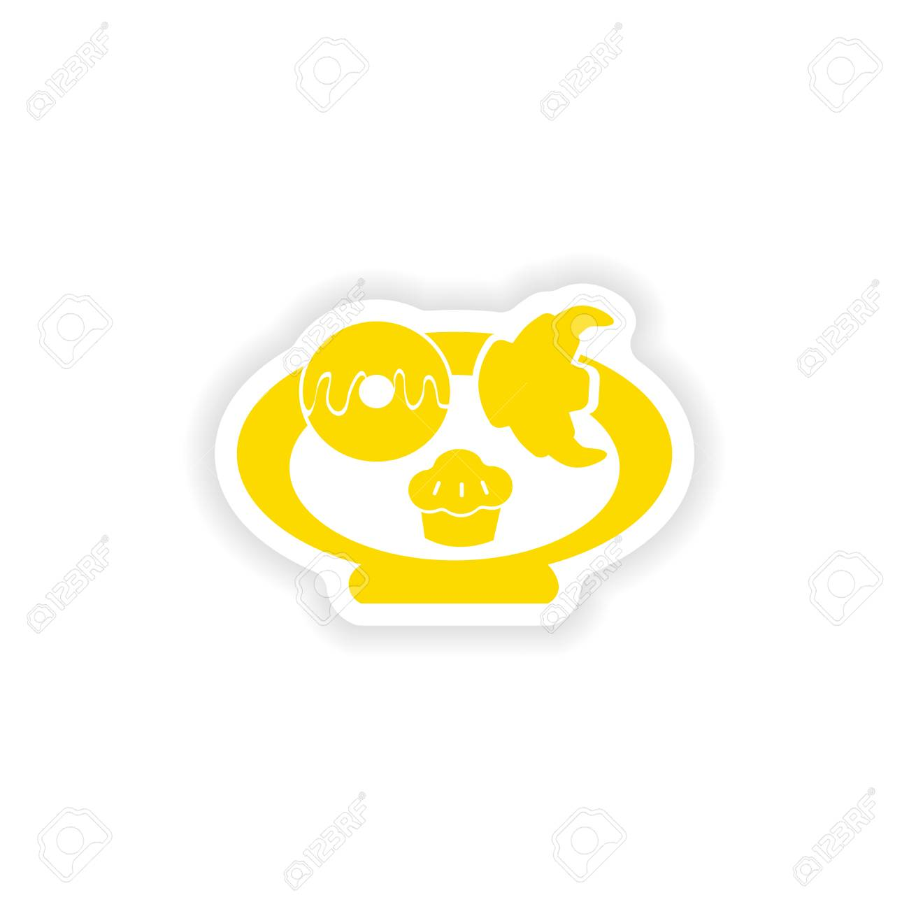 Icon sticker realistic design on paper baking cookies stock vector 42986854