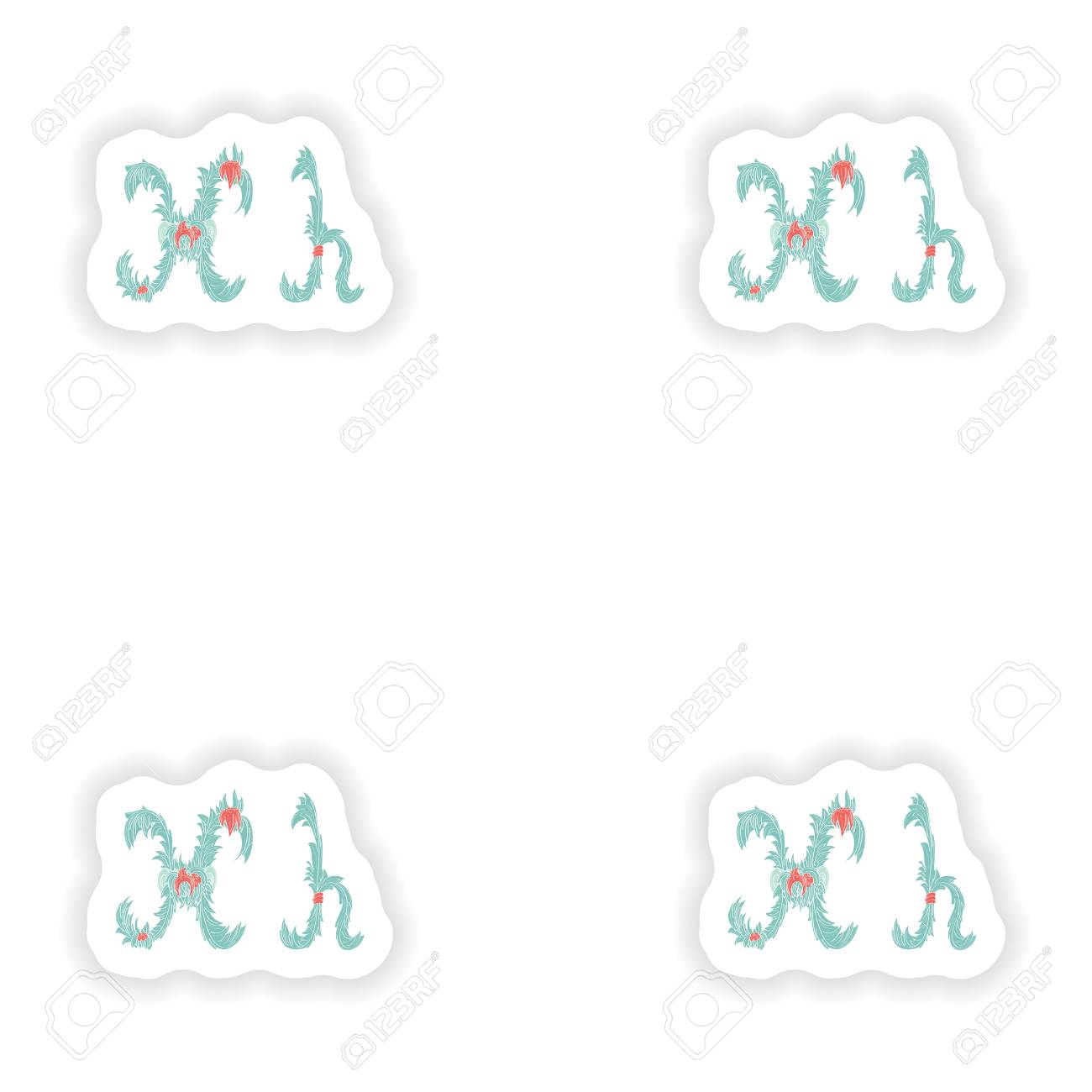 sticker abstract letter h icon in blue tropical style royalty free