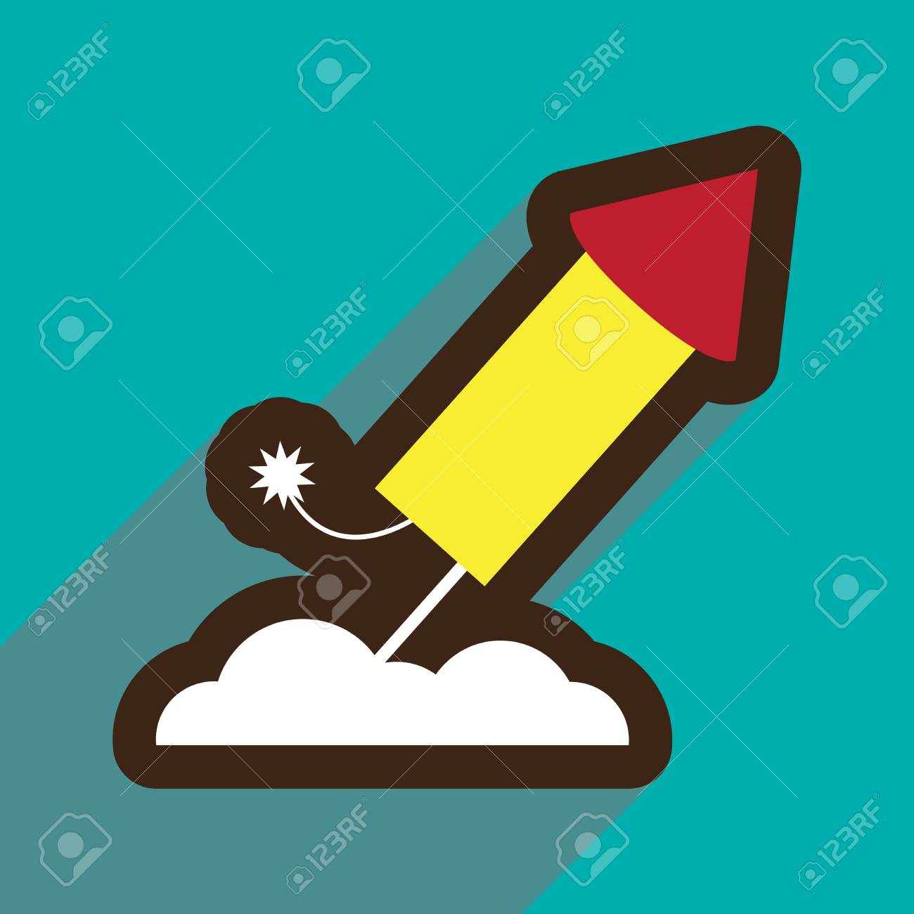 Flat Icon With Long Shadow Rocket Fireworks Royalty Free