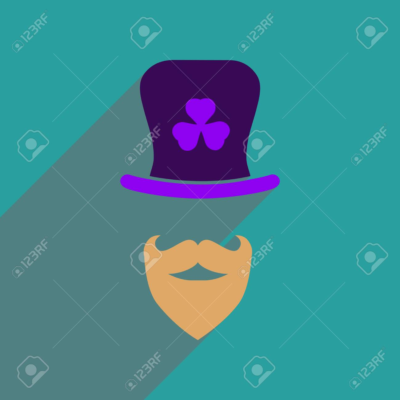 Flat Web Icon With Long Shadow Irish Hat Beard Royalty Free Cliparts ... 077ebd251bf