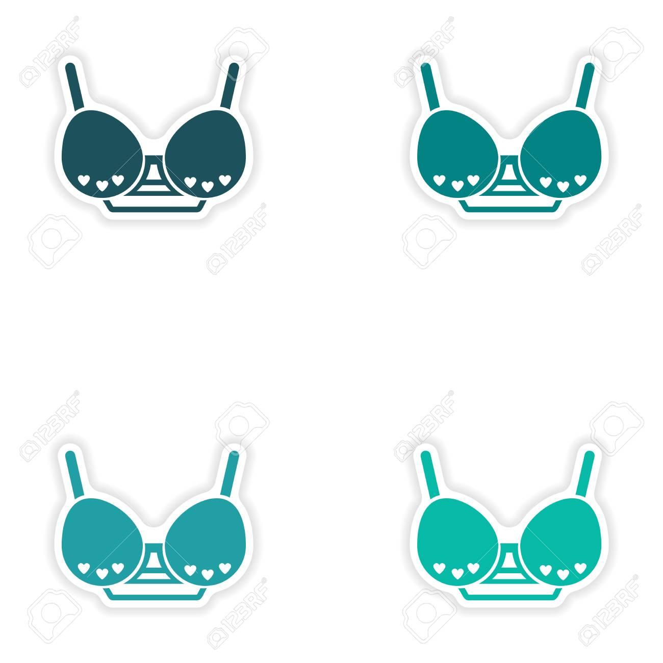 concept stylish paper sticker on white background brassiere - 54084988