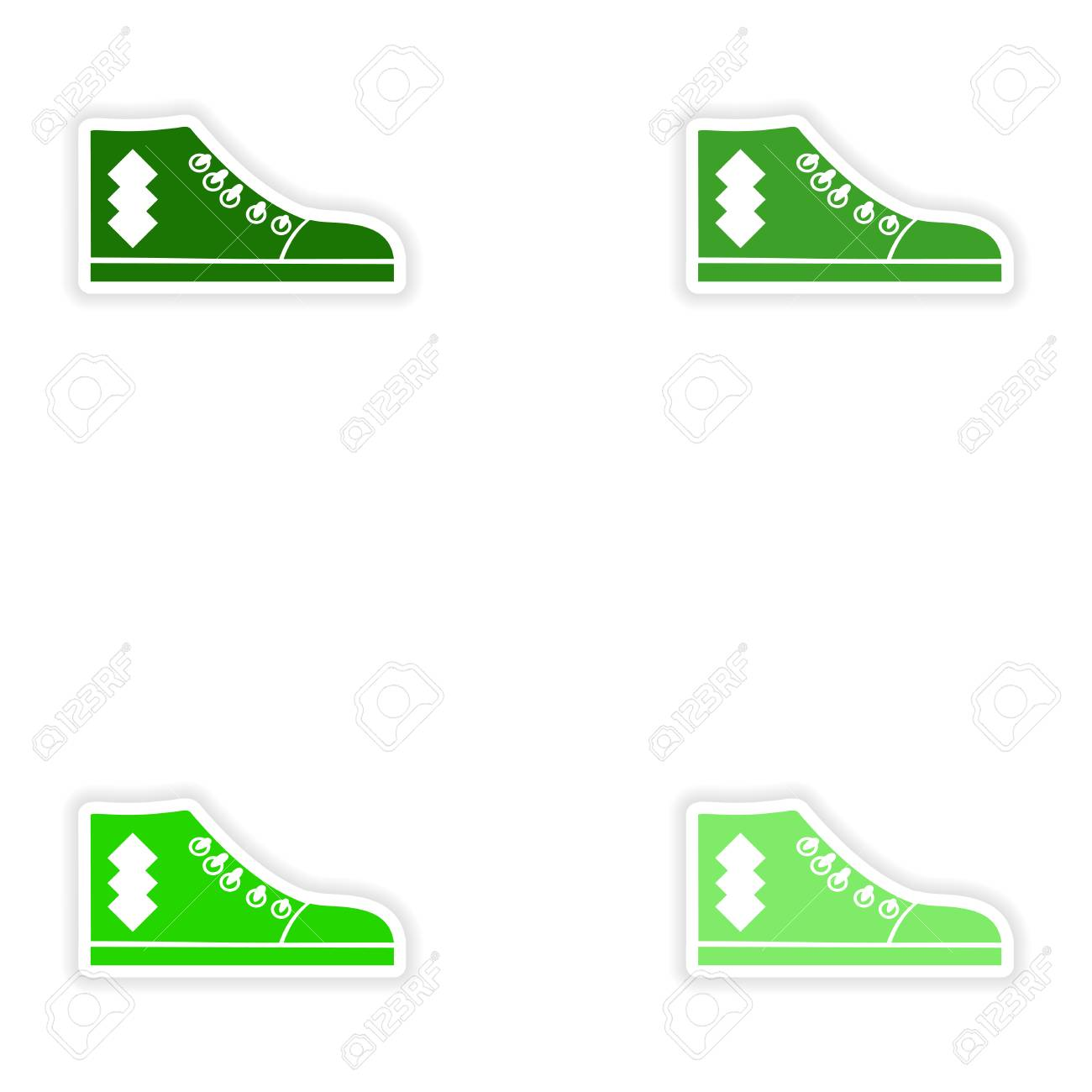 Set Of Paper Stickers On White Background Gumshoes Royalty Free