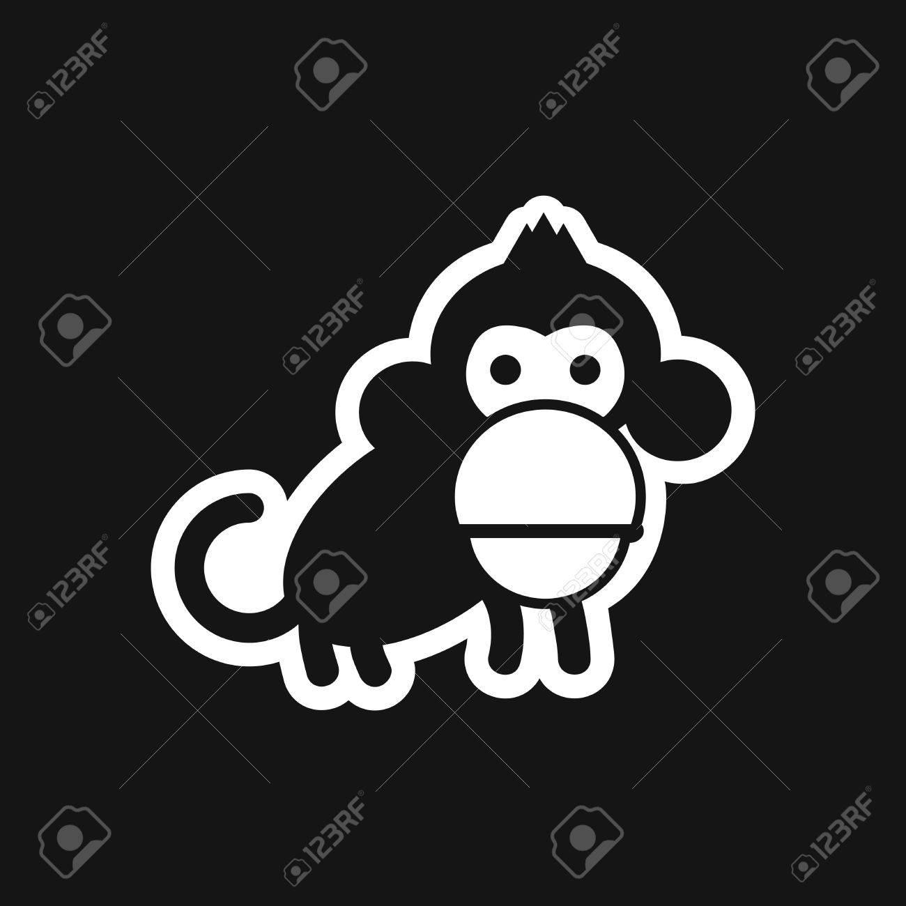 stylish black and white icon small chimpanzee - 65943353