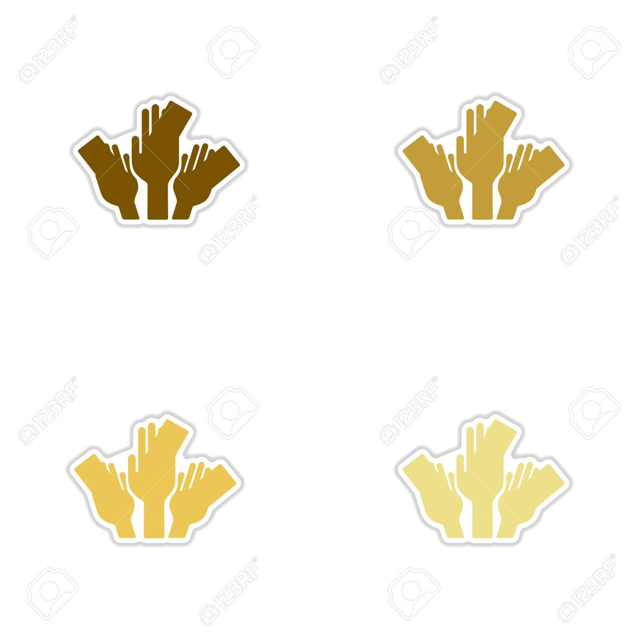 Set of paper stickers on white background money in hands stock vector 71421448