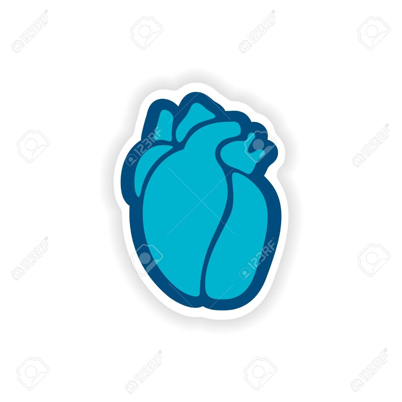 Etiqueta Engomada De Papel En El Fondo Blanco Corazón Humano ...