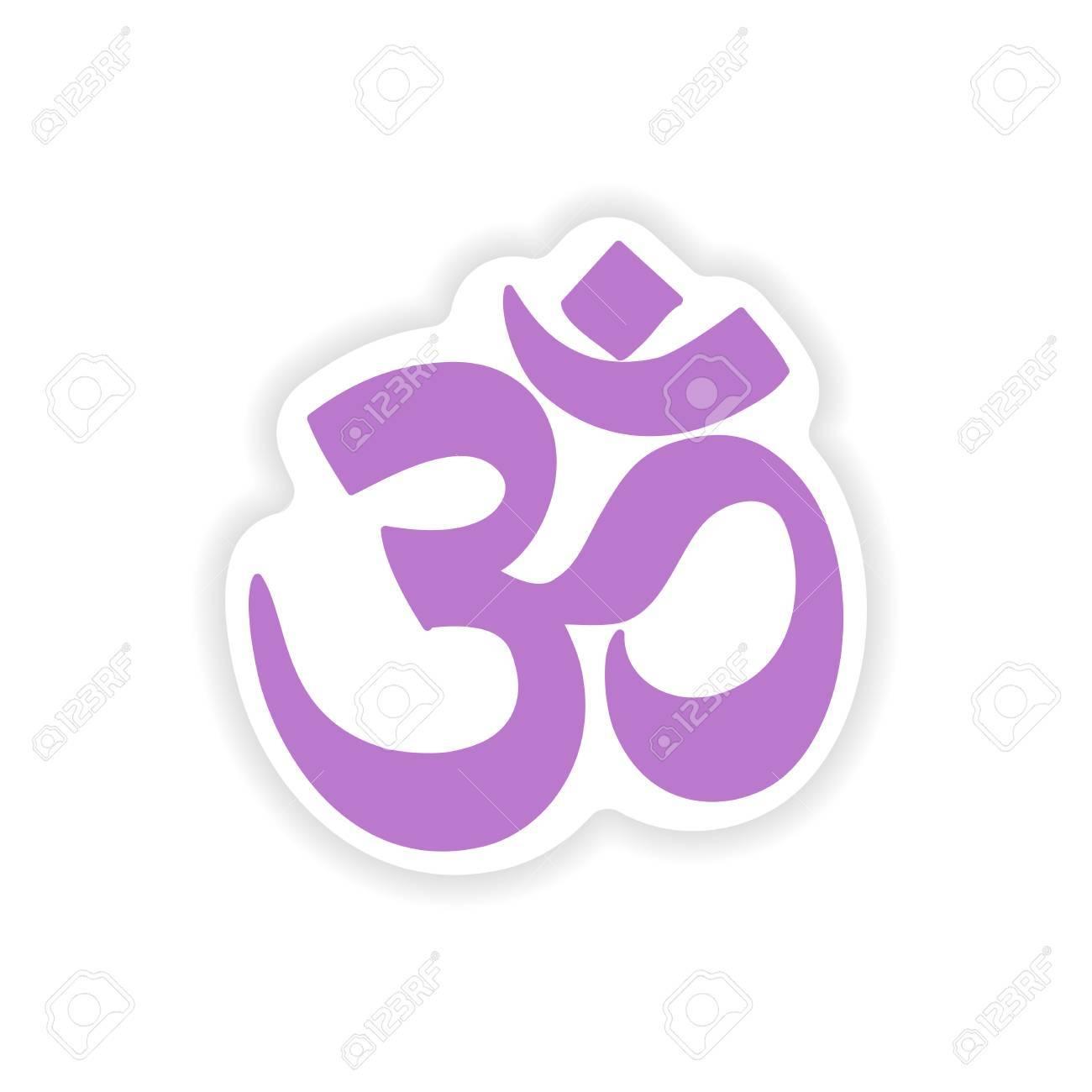 Papier Aufkleber Indische Om Zeichen Auf Weißem Hintergrund