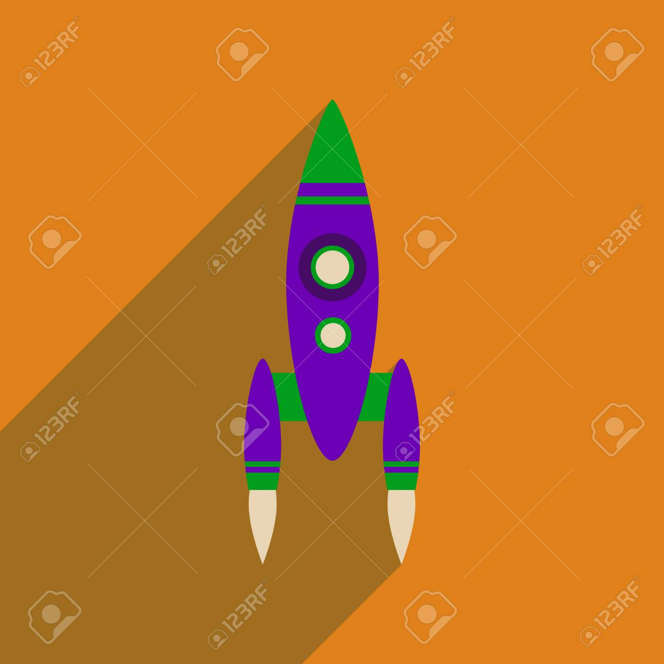 Flat Web Icon With Long Shadow Rocket Royalty Free Cliparts