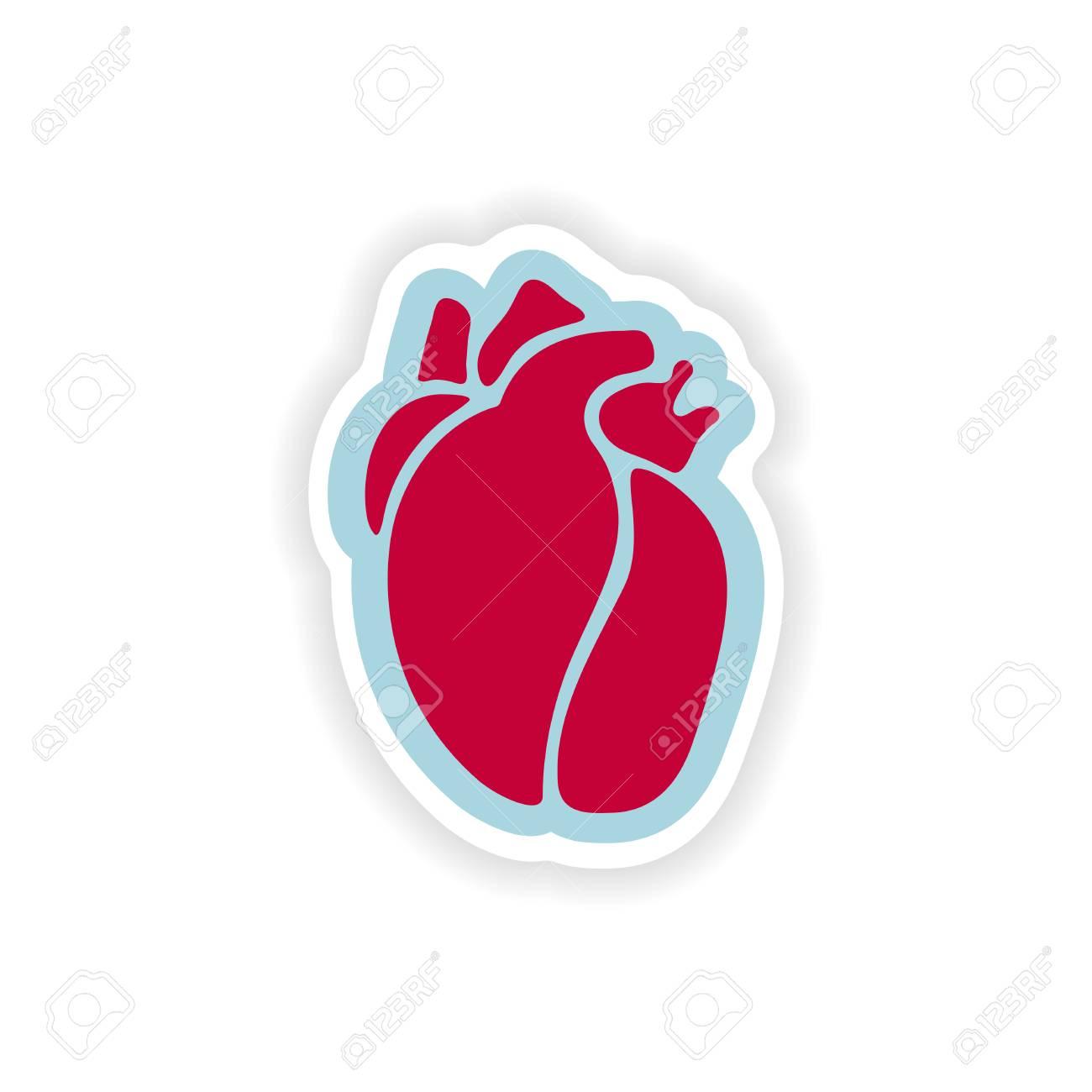Etiqueta De Papel Sobre Fondo Blanco Corazón Humano Ilustraciones ...