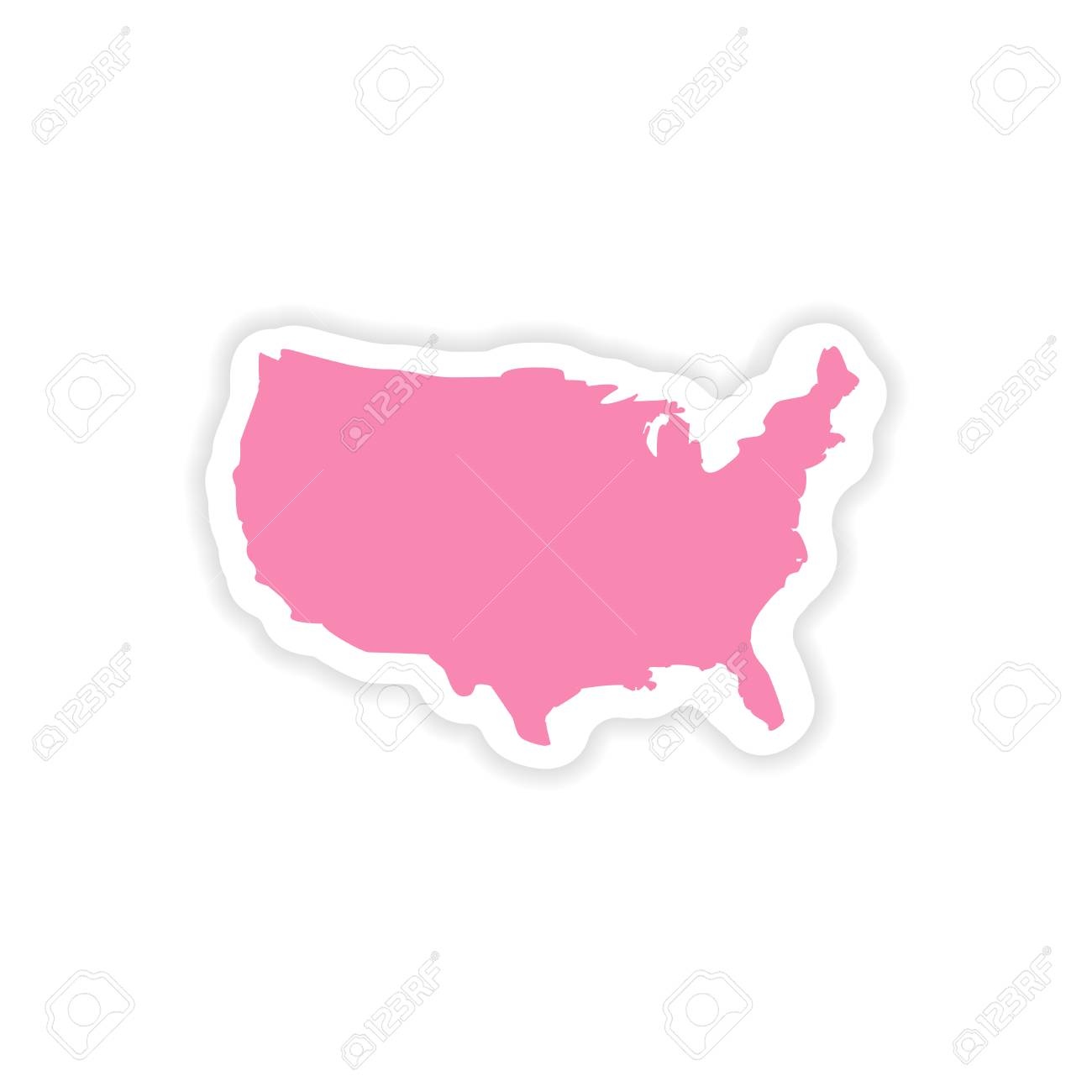 paper sticker map of USA on white background - 87617209